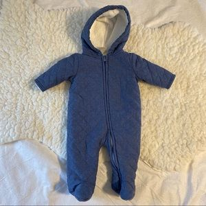 Cozy Winter Blue Chambray Outerwear Bodysuit 0-3M